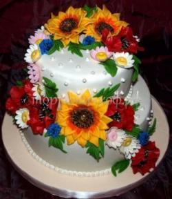 """Торт на заказ для бабушки - """"Цветочное чудо"""""""