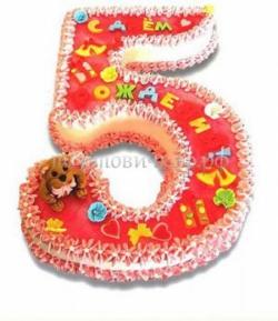 Детский торт на заказ - Пятерка