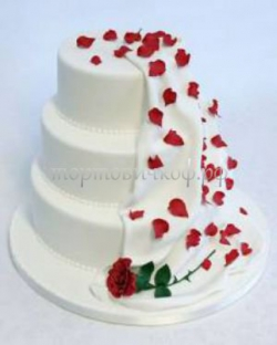 Торт свадебный на заказ - Лепестки роз