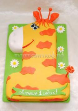 Торт на заказ - цифра 1 - жираф