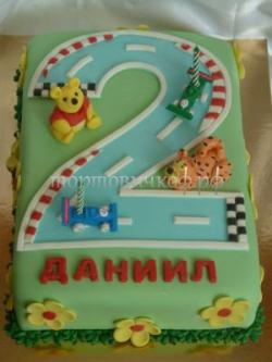 Торт на заказ - цифра 2 годика - ( Радость )