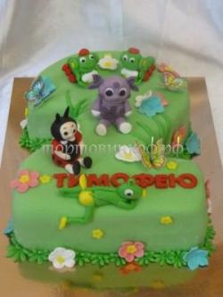 Торт на заказ - цифра 2 года - ( лунтик )