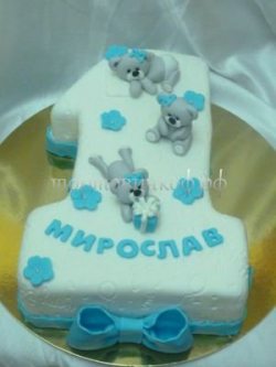 Торт на заказ - цифра 1 год - ( Бирюзовый )