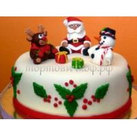 Детский торт на заказ - Снеговик + Дед мороз