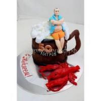 Торт на день рождения - Бокал пива с раками