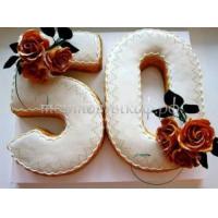 Заказать торт на Юбилей 50 лет - Цифра + розы