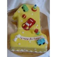 Торт на заказ - цифра 1 годик - ( Желтый )