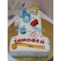 Торт на заказ - цифра 1 годик - ( Белый )