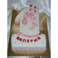 Торт на заказ - цифра 1 годик - ( Розовая )