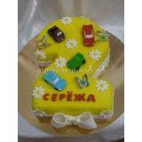 Торт на заказ - цифра 2 года - ( желтый )