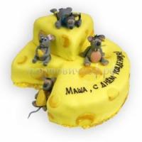Торт с днем рождения - Сыр и Мышки